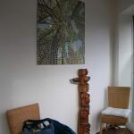 Tableau-lampe forêt de bambous dans une salle d