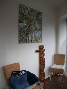 Tableau-lampe forêt de bambous dans une salle d'attente
