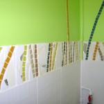 Bambous en mosaïque dans des toilettes