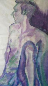 Nu 6, aquarelle, dim 54 x74 cm