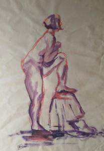 Nu 3, aquarelle, dim 54 x74 cm