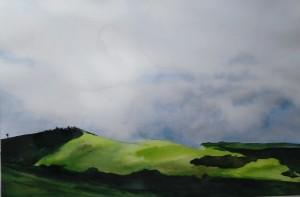 Campagne 1, aquarelle, dim 54 x74 cm