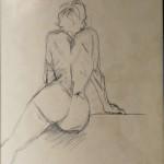 Nu 2, crayon, dim 54 x74 cm
