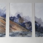 Tryptique montagne 1, aquarelle, dim 54 x74 cm