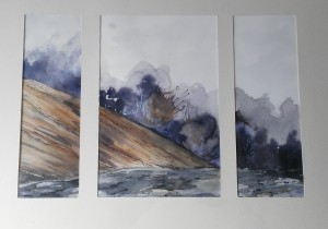 Tryptique montagne 1, aquarelle, dim 54 x74 cm