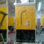 Panneau marbres jaune de Sienne et vert de mer