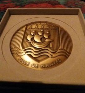 Médaille de la ville de Nantes reçu au salon d'automne 2018 de la SAO