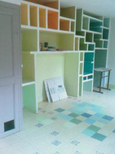 peinture carrelage et blocs colorés