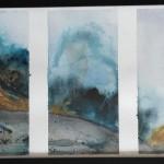 Tryptique montagne 2, aquarelle, petit format