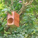 maison aux oiseaux fabriqué avec une caisse à vins