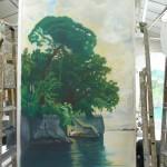 Fresque Lac de Côme, acrylique